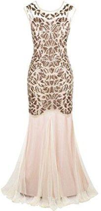 ee02d46e74 Amazon kayamiya damskie XX lat koraliki cekinami Floral Maxi długa Gatsby  klapa suknia wieczorowa - Koktajl