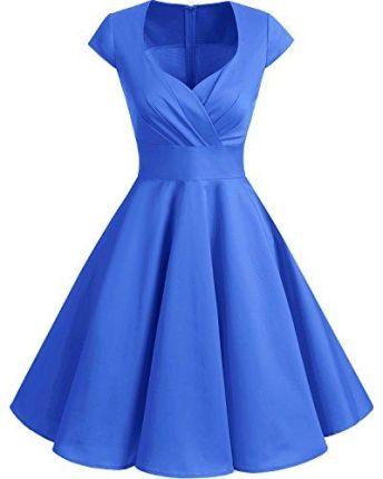 9f33adb9d0 Amazon BBON Line Dress XX Vintage Retro sukienka koktajlowa wycięcie w  kształcie V fałd Rockabilly Rock
