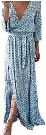 9758c65528 Amazon sukienki kobiet Dress lato Vintage druk Boho Maxi sukienka bez  rękawów przypadkowy sukienka plażowa kwiat