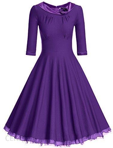 02f1ba229c Amazon muxxn damski Vintage sukienki 3 4 rękawy elegancko taniec sukienka  wieczorowa ball impreza sukienki