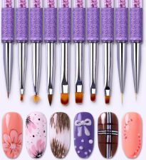 AliExpress Gradient Drawing Pen Nail Brush Liner Fan Painting Manicure Purple Rhinestone Handle Nail Art Tools for UV Gel Polish Lacquer
