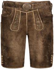 bc854ce63a841e Maddox Country, Tradycyjne, skórzane spodnie bawarskie z paskiem BrĄzowy