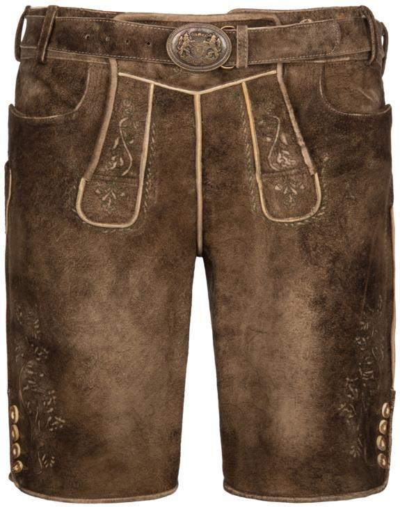 1a7c4a5bc67bc8 Maddox Country, Tradycyjne, skórzane spodnie bawarskie z paskiem BrĄzowy -  zdjęcie 1