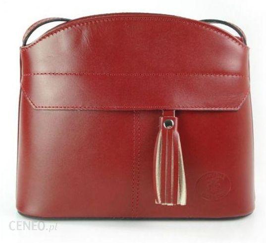 f4175aedc0e8e Czerwona listonoszka skórzana vera pelle frędzelek lvp23r - Ceny i ...