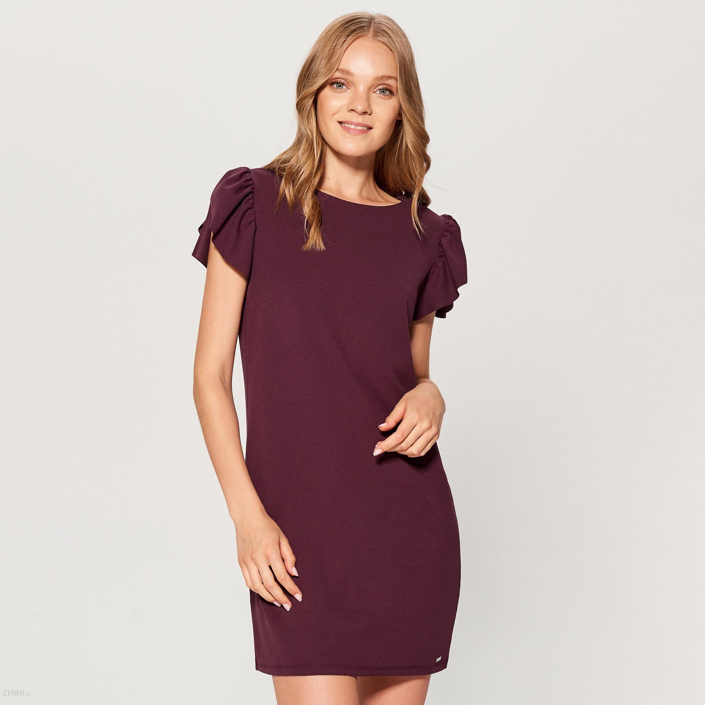 6183eba6e4 Mohito - Sukienka z falbanami na rękawach - Bordowy - Ceny i opinie ...