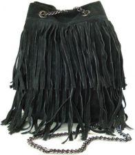 Zamszowa listonoszka worek frędzle włoska skórzana czarna torebka wl45n