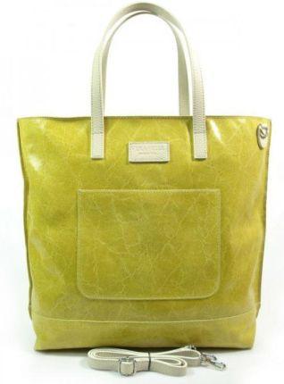 5ee237de393ac Duża torba shopper bag vera pelle na ramię świecąca włoska skóra a4 żółta  x87gl