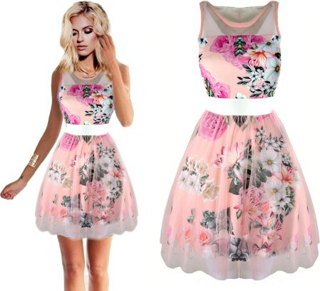 b56c9141b5 Szyfonowa romantyczna Sukienka floral kwiaty Allegro