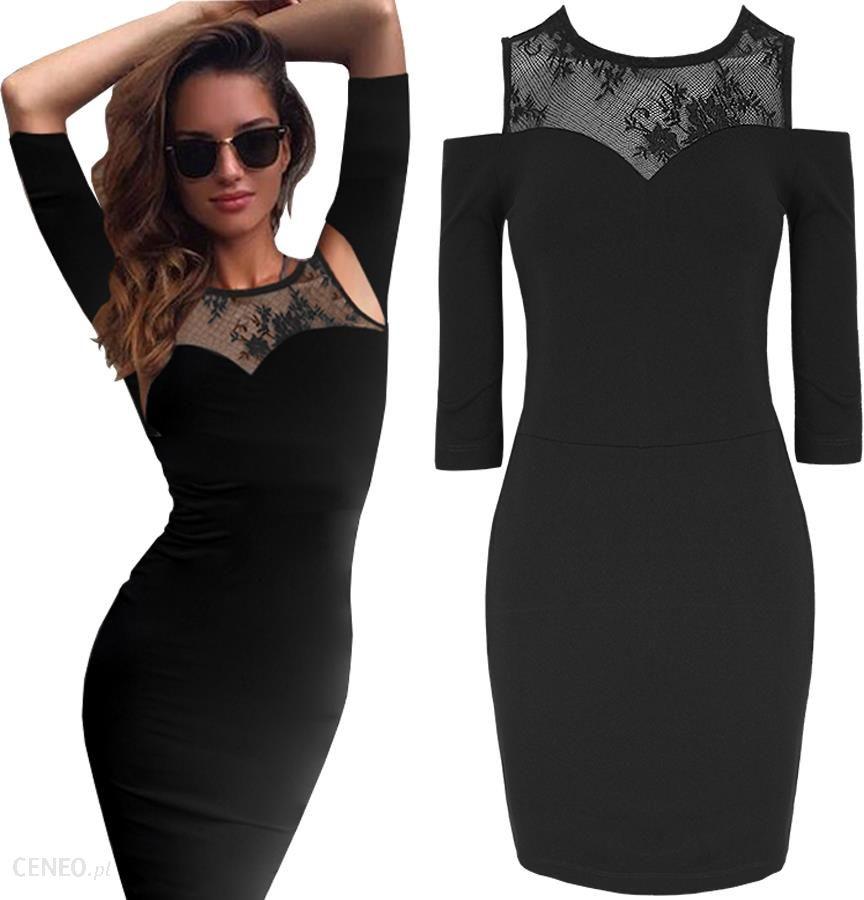 ded12d13e1 Mała Czarna Sukienka Mini Dekolt Koronka Sexy M316 - Ceny i opinie ...