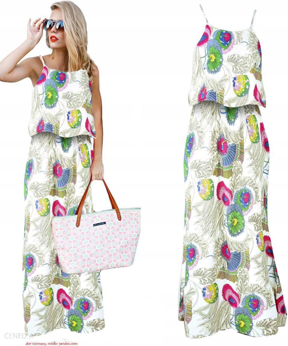 fa6ae89b2a Niesamowita zwiewna letnia Sukienka Maxi kwiaty - Ceny i opinie ...