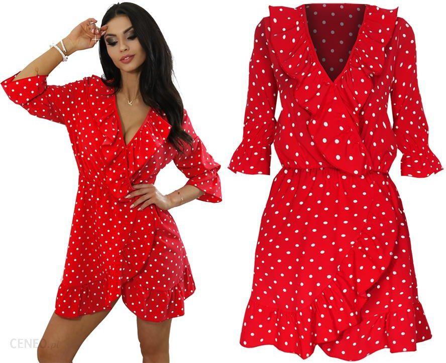 75f3994825 Retro Sukienka W Grochy Pinup Falbany Dekolt M654 - Ceny i opinie ...