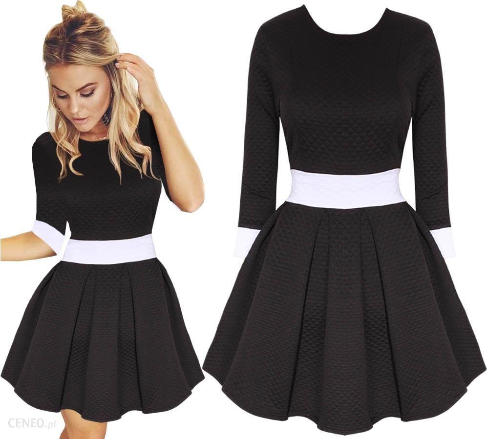 de70a0dcc1 Rozkloszowana Sukienka Pikowana Pas Rękaw 3 4 M208 - Ceny i opinie ...