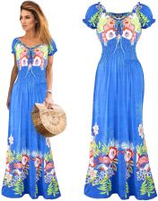 2958c5f48f Boho zwiewna Sukienka Maxi romantyczne kwiaty