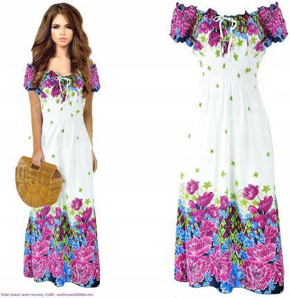 27ca2e87e3 Zwiewna Maxi Sukienka hiszpanka romantyczne kwiaty Allegro