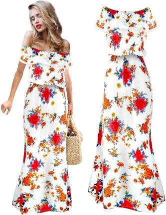 855eb3c942 Romantyczna Maxi Sukienka hiszpanka falbana kwiaty Allegro