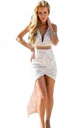 6a7634c3e67f Sukienka w kwiaty asymetryczna koronkowa Glamour M Allegro