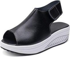 Amazon hishoes sandały damskie buty letnie Plateau obcas klinowy skórzane  sandały Peep TOE komfort chodzenia buty c5619070fb3