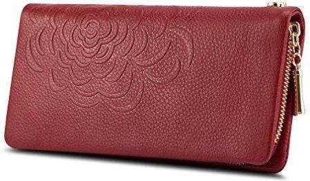 2b6703f53e077 Amazon kattee damskie Fashion kwiaty długi portfel skóra naturalna clutches  portfel, kolor: czerwony