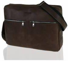 6103ed20cd741 Skórzana torba na ramię raportówka na laptop brodrene bl19 ciemny brąz