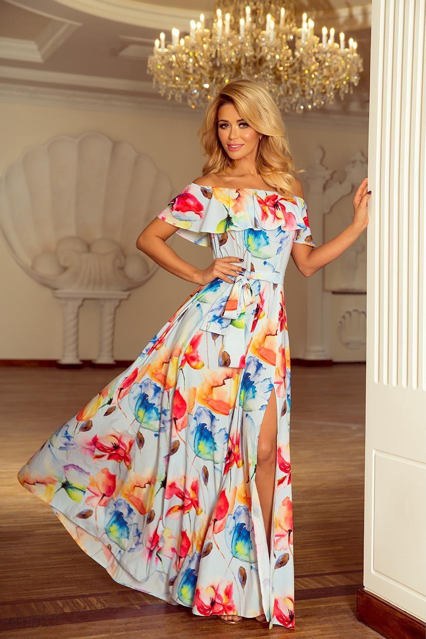 a561345449 Długa suknia z hiszpańskim dekoltem - kolorowe malowane kwiaty 194-1 -  zdjęcie 1