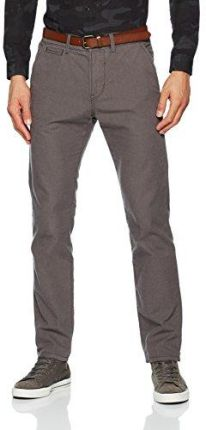Amazon TOM TAILOR spodnie męskie Denim Basic Chino YD with Belt -  w stylu chino szary (Dark Raven Grey 2151)