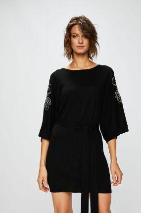 199ae3e1bb Bicotone Rozkloszowana sukienka z ozdobną koronką w kratę Loara ...