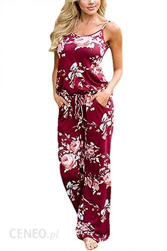 82b2ba9fe2c7 Amazon minip Each kombinezon Jumpsuit damski strój Elegant spodnie letnie  wzór kwiatowy bez rękawów Romper