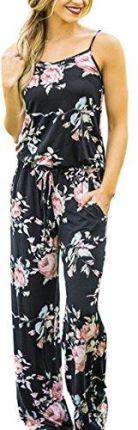 12cd66a2ddc Amazon ecowish kombinezon Jumpsuit damski strój Elegant spodnie letnie wzór  kwiatowy bez rękawów Romper - EU