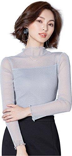ad994147a4acc1 Amazon abab Alaya damska bluzka koszulka z długim rękawem Sexy grotów  stójką skrzące niemal kratka koronka