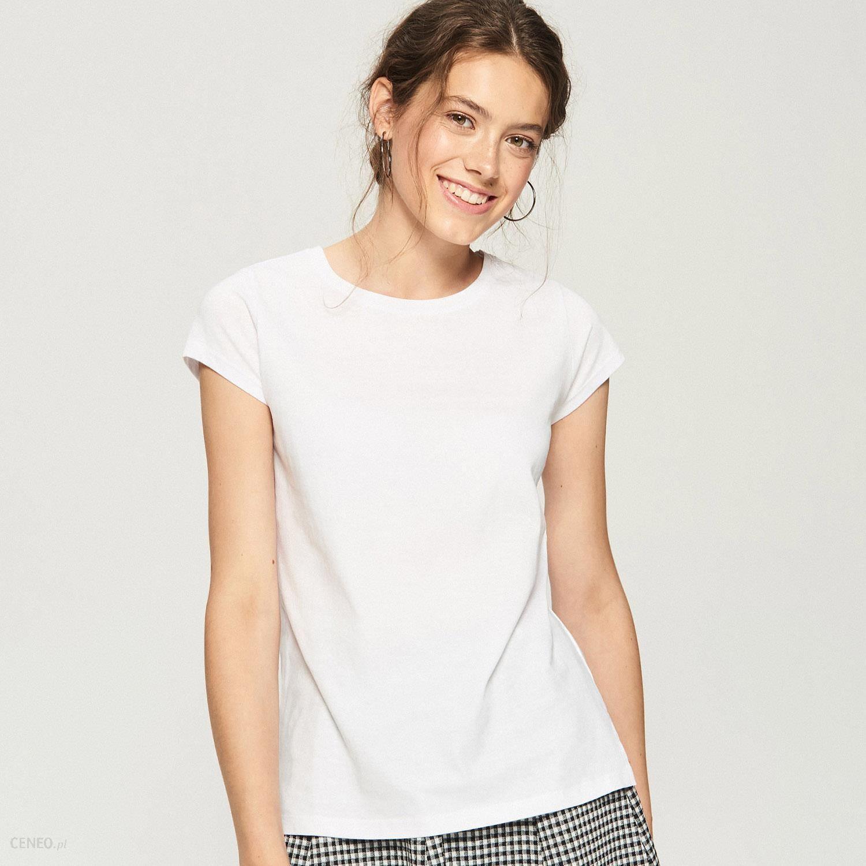 Sinsay T shirt basic Biały Ceny i opinie Ceneo.pl