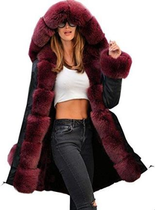 f287d96ba2aa5 Amazon roiii kobiet zimowy Hoodies Overcoat czerwone wino Faux futra parka  Casual luksusowy płaszcz kurtka Plus