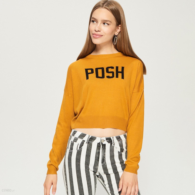 Krótki sweter z hasłem Żółty