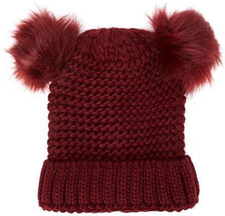 df6676004da02 Amazon New Look damska czapka z dzianiny Double Faux FUR, Red (Dark  Burgundy)