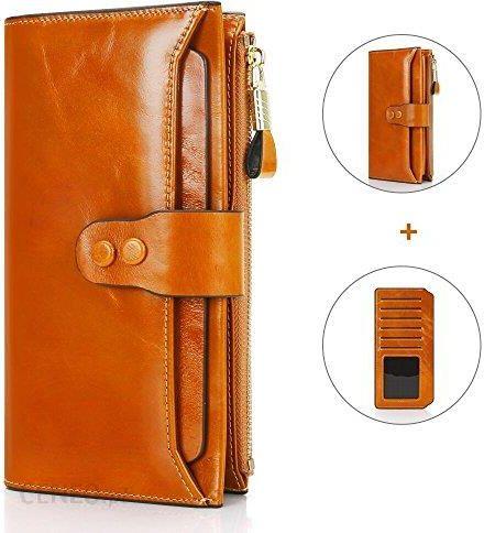 647c43863efe4 Amazon Damski portfel z prawdziwej skóry z dodatkowymi przegródkami na karty,  duża pojemność portfel z