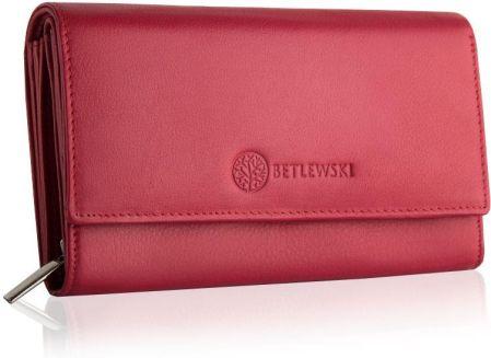 71bc1544cabdc Czerwony, duży, skórzany portfel damski BETLEWSKI Odcienie ...
