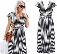 7c31c88b6 Sukienka Maxi Długa Paski Elastyczna Dekolt J275