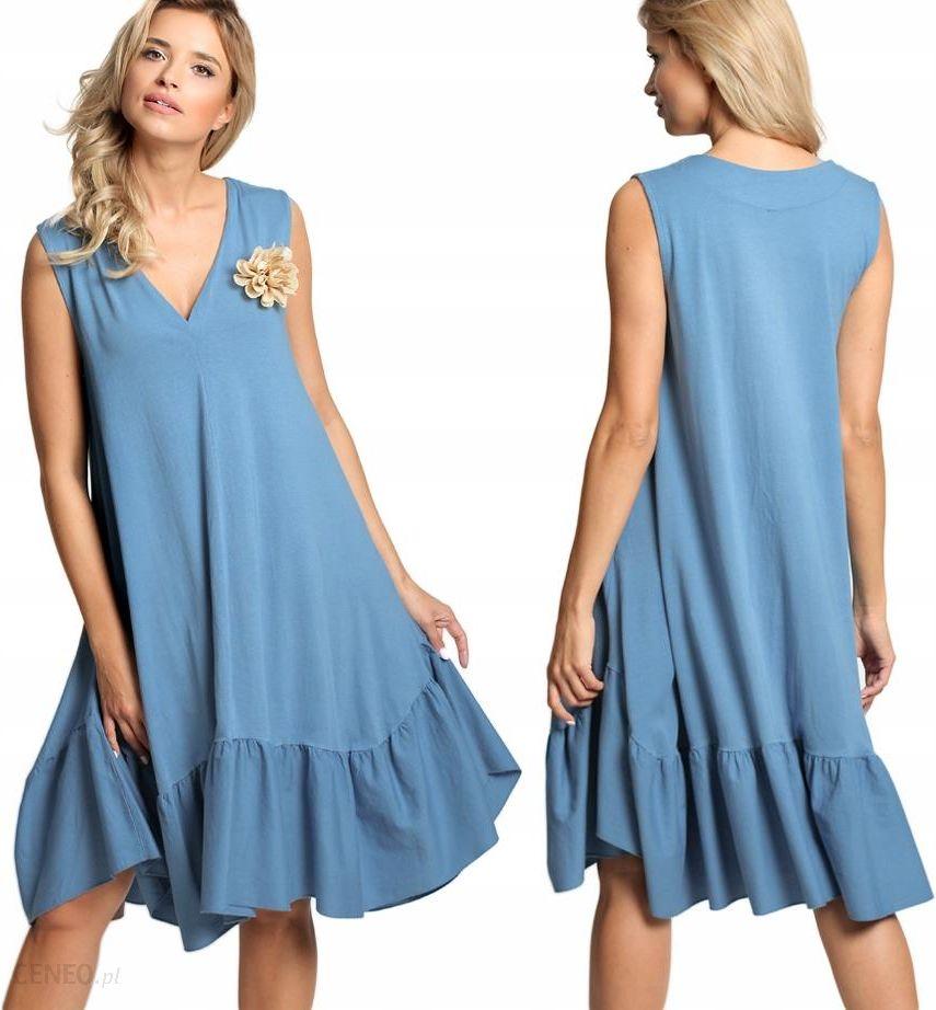 418f61646b Gładka sukienka midi z falbaną Italy E12 Niebieska - Ceny i opinie ...