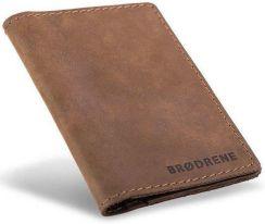 699e4b27e07fa Skórzany cienki portfel slim wallet BRODRENE SW08 jasnobrązowy - j. brązowy