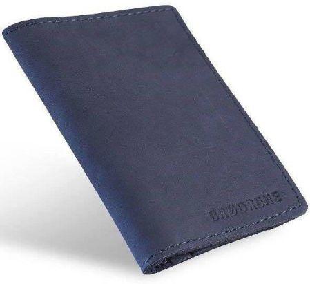 e7dc577d7b57e Skórzany cienki portfel slim wallet BRODRENE SW08 granatowy - granatowy