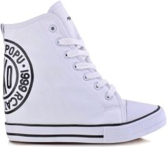 2e88044d19256 Materiałowe Sneakersy Botki Trampki Koturn Białe Allegro