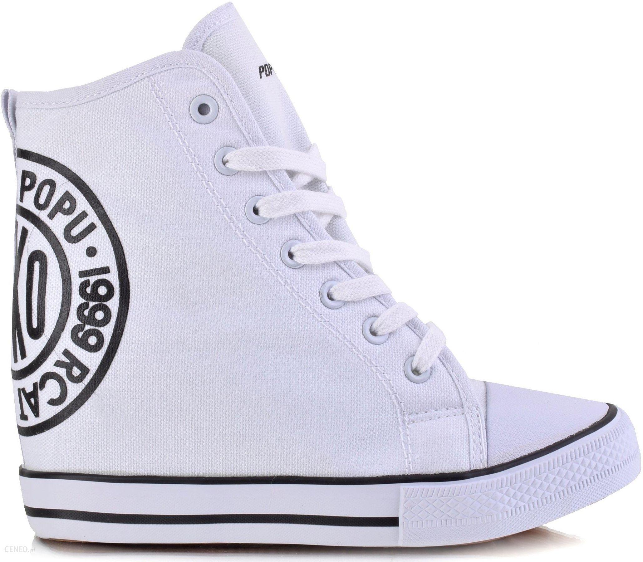 a3de2836 Materiałowe Sneakersy Botki Trampki Koturn Białe - Ceny i opinie ...