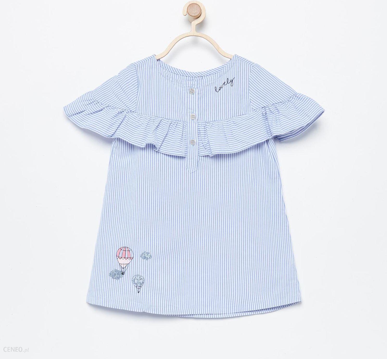 9e15dc9a4847b2 Reserved - Bawełniana sukienka w paski - Niebieski - Ceny i opinie ...