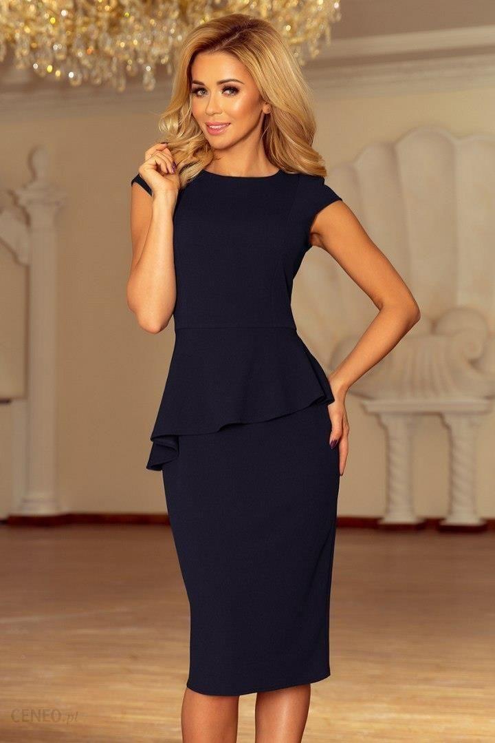 c77b535e9e 192-4 Elegancka sukienka MIDI z baskinką - GRANATOWA - Ceny i opinie ...