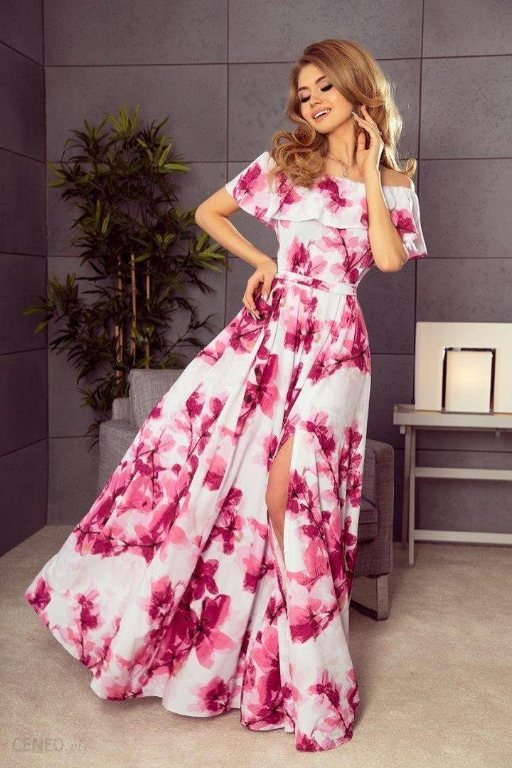 2d36f71ee8 194-2 Długa suknia z hiszpańskim dekoltem - duże różowe kwiaty - zdjęcie 1