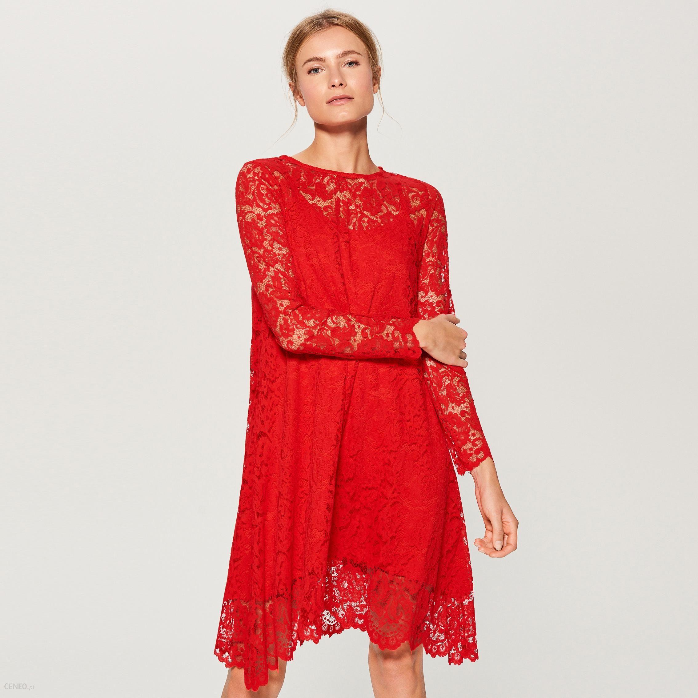 d653b985 Mohito - Czerwona sukienka z koronki - Czerwony - Ceny i opinie - Ceneo.pl