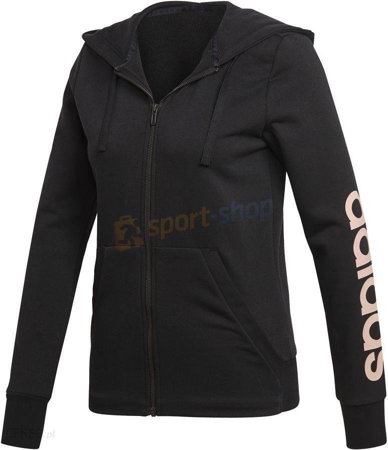 e75ef8ddffac77 Bluza z kapturem damska Essentials Linear Hoodie Adidas (czarna) - zdjęcie 1