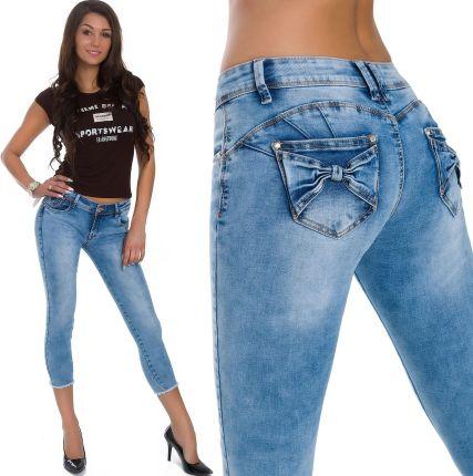 ae35ddf6a00cfd ... Spodnie Jeans Damskie Valeria 383 W26. 579_roz._XS_SPODNIE Jeansy Push-up  Kokardki 7/8 Allegro