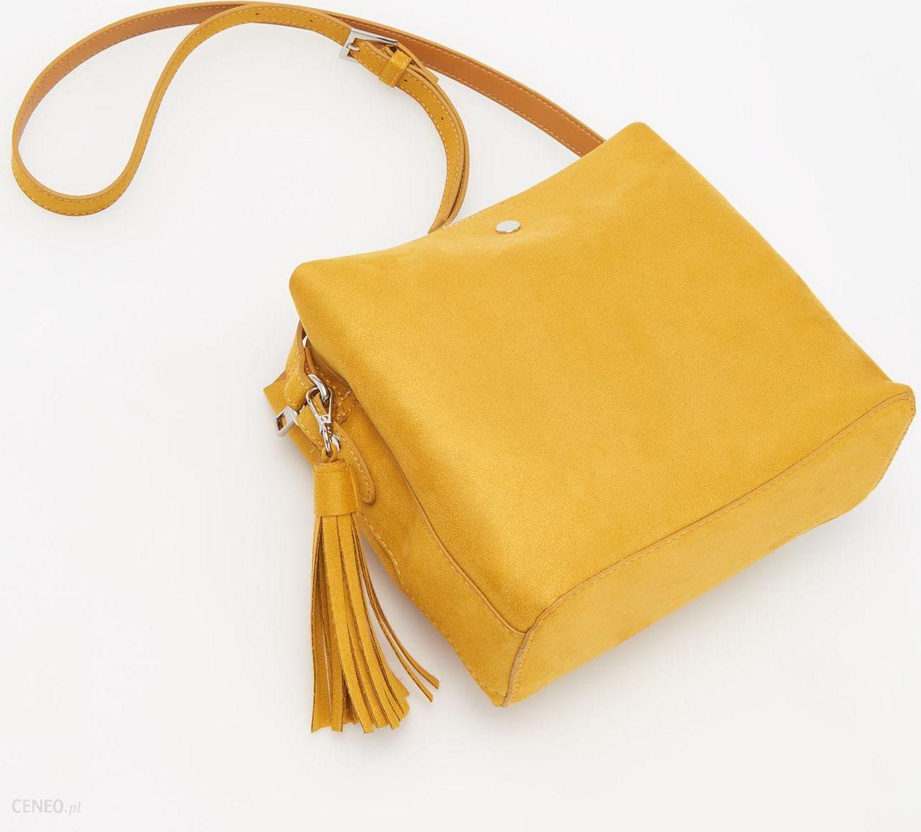 a1ba19c33ed44 Reserved - Zółta torebka z imitacji zamszu - Żółty - Ceny i opinie ...