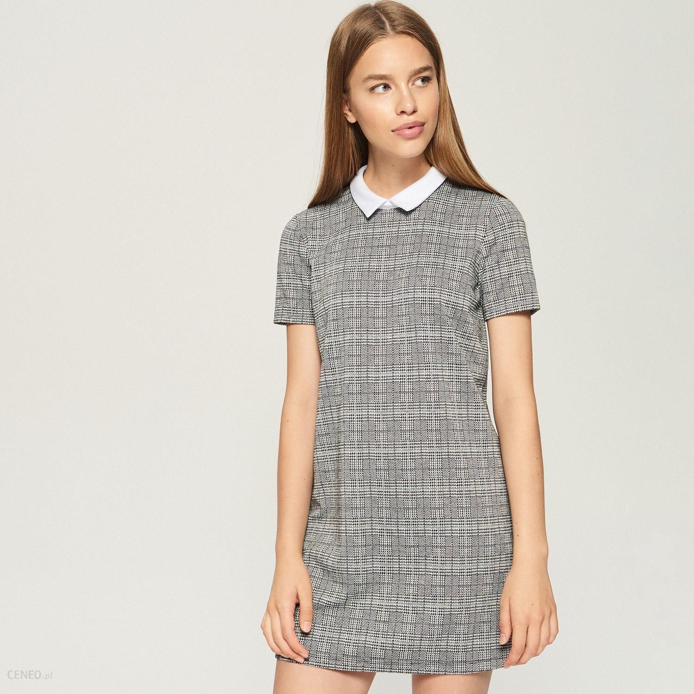 a364fd3b4e Sinsay - Żakardowa sukienka z kołnierzem - Biały - Ceny i opinie ...