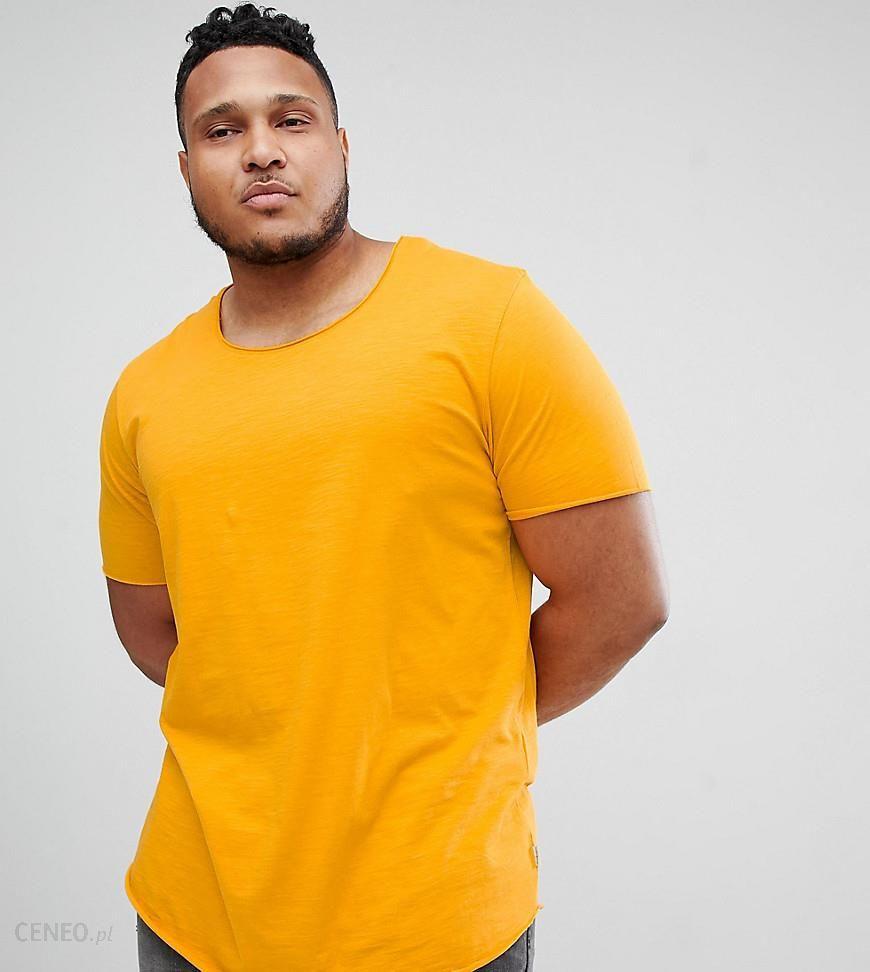 df455a87 Jack & Jones Essentials Plus Size Longline T-Shirt With Raw Neck - Yellow -